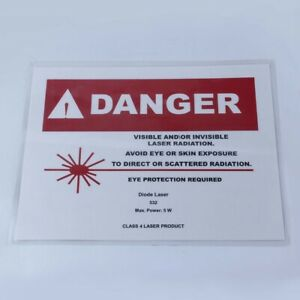 Laser Room Safety Danger Warning Sign 5 Watt 532 Nm Diode 8 5x11 Inches Used