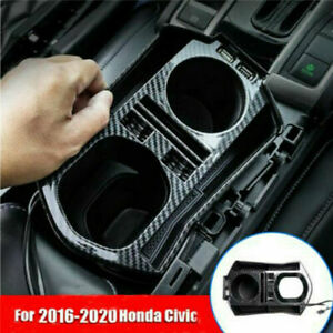 For Honda Civic 2016 2020 Carbon Fiber Interior Console Storage Box Trim Usb
