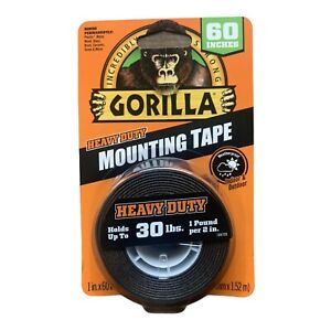 Gorilla Heavy Duty Mounting Tape Double sided Black Holds 30 Lbs 1 X 60 L New