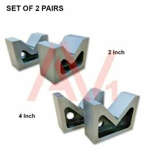 Combo Of 2 Sets Of Cast Iron Vee Block Pair 2 4 Inch V Block Without Clamp