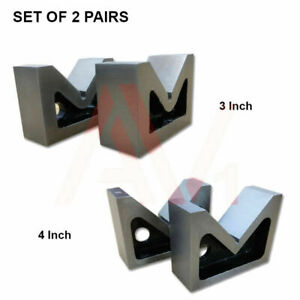 Combo Of 2 Sets Of Cast Iron Vee Block Pair 3 4 Inch V Block Without Clamp