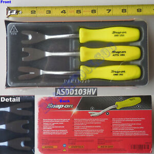 New Snap On Hi Viz Yellow Hard Handle Trim Pad Removal Tool 3 Pcs Set Asdd103