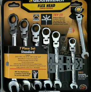 Gearwrench 7 Pc Flex Head Sae Inch Ratcheting Combination Wrench Set Free Ship