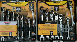 Gearwrench 14pc Flex Head Sae Metric Ratcheting Combination Wrench Set Free Ship