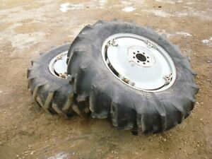1963 Ford 4000 Tractor Power Adjust Spin Out Rims W Tires 14 9 28 Firestone