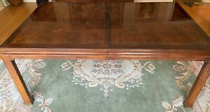 Henredon Folio Burl Dining Room Table Only 2 Leaves Parson Chinoiserie