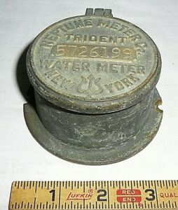 Vintage Brass Neptune Company Water Meter Trident New York W Flip Up Lid glass