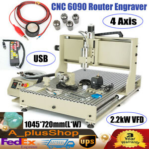 4 Axis Cnc 6090 Router Engraver Wood Carving Machine 2 2kw Vfd controller Usb