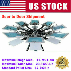 Usa 8 Color 8 Station Micro Registration Screen Printing Press T shirt Printer