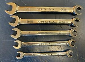 Snap On 5pc 6 Point Sae Open End Flare Nut Wrench Set Rxs20b 12b
