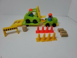 Vintage Fisher Price Little People Construction Truck Trailer With Forklift