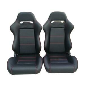 Universal High Quality 2pcs Racing Seats Faux Leather Reclinable Bucket Seat