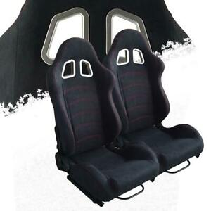 2pcs Universal Black Suede Leather Racing Busket Seats Red Stitching Reclinable