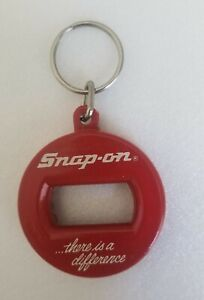 Vintage Snap On Bottle Opener And Key Chain Red White Letters
