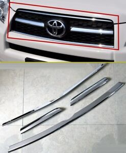 Chrome Front Grille Vent Molding Cover Trim Strip For Toyota Rav4 2009 2012