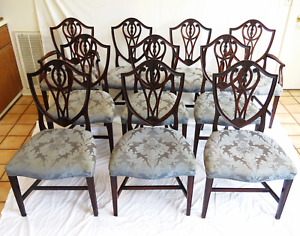 Antique English Mahogany Shield Back Dining Chairs Set Of Ten