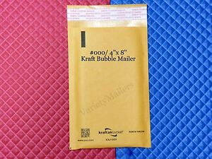 15 Small Kraft Bubble Envelopes 000 4x8 Padded Shipping Mailers Made In Usa