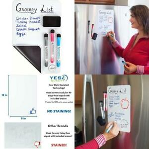Magnetic Dry Erase White Board Sheet For Fridge 12x8 In With Stain Resistant T