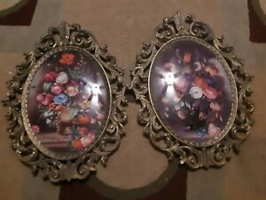 2 Vintage Made In Italy Oval Curved Glass Victorian Flowers In Metal Frames