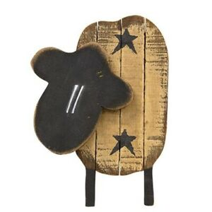 New Primitive Rustic Country Barn Wooden Sheep Black Star Wall Hanging