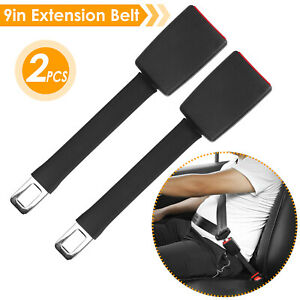 2pcs Universal Car Safety Seat Belt Extender 9in Seatbelt Extension Strap Buckle