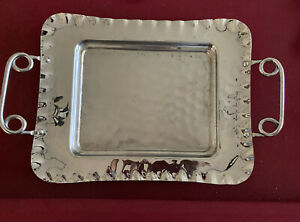Vintage Chrome Silver Serving Tray Square With Handles