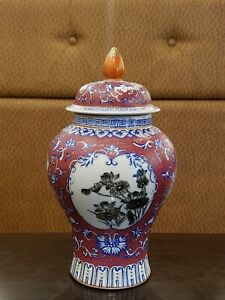 Chinese Faience Porcelain With Ink Painted Panel Decoration Jar With Lid