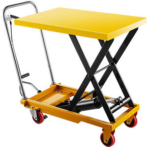 Vevor Hydraulic Lift Table Cart Hydraulic Scissor Cart 660lbs 35 4 Max Height