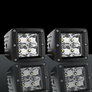 2x 4 Inch Led Work Light Truck Offroad Tractor Flood Fog Lights Square