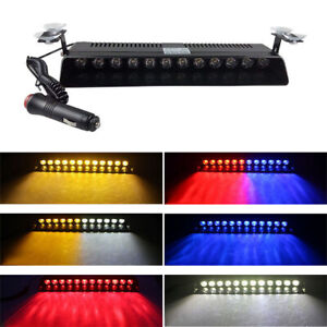 12 Led Car Emergency Dash Strobe Flash Light Bar Police Warning Lamp Blue Red