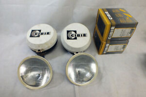 Vtg Cibie Super Oscar Driving Light Pair New Convex Lenses Rally Black Case H4