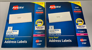 2 New Avery 5160 Easy Peel Address Labels white 1 X 2 5 8 3000 Labels sealed
