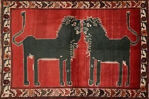 Vintage Animal Pictorial Vegetable Dye Tribal Area Rug Hand Knotted Oriental 4x6