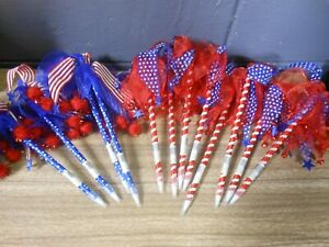 New Lot Of 12 Patriotic American Flag Red White Blue Usa Pens Blue Ink
