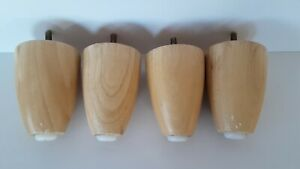 4 Vintage Mid Century Blonde Wood Furniture Legs Feet Round Tapered Feet 4 Tall