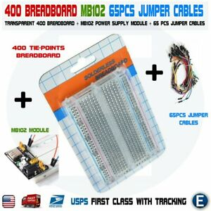 Breadboard 400 Tie points Mb102 Power Module 65pcs Jumper Cables Kit For Arduino