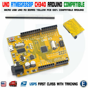 Uno R3 Atmega328p Ch340g Micro Usb Yellow Development Board Compatible Arduino