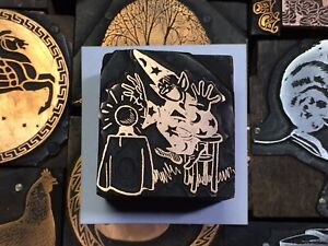 Antique Sorcerer Wizard Crystal Ball Letterpress Print Type Cut Ornament Block