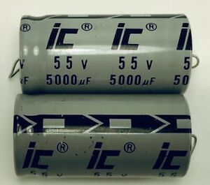 Set Of 2 Illinois Axial Electrolytic Capacitor 5000uf 55v New Nos