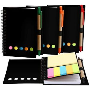 Toodoo 4 Packs Spiral Notebook Lined Notepad With Pen In Holder And Sticky No
