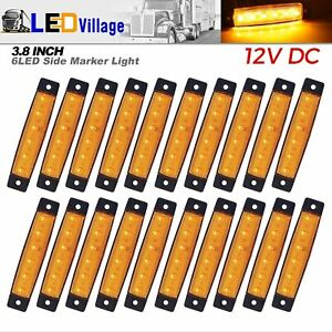 20pcs Amber 6 Led Side Marker Indicators Light For Truck Trailer Car Clearance