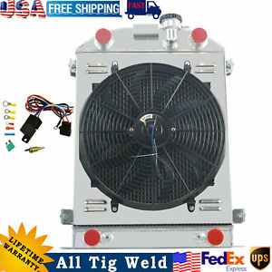 4 Row Aluminum Radiator Shroud Fan For 1932 Ford Model Flathead Engine