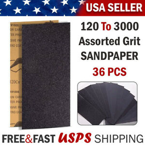 Sandpaper Sheets Assorted Grit Sand Paper Sanding Tool Wet Dry Wood Automotive