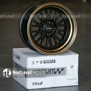Circuit Cp28 15x8 4 100 4 114 3 Flat Black Bronze Lip Wheels Fits Acura Integra