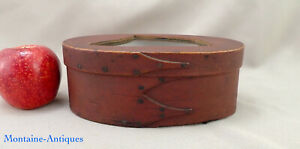 Red Painted Three Finger Shaker Pantry Box C Early 19th Cent