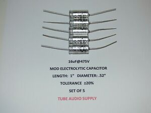 Mod Electrolytic Capacitor 16uf 475volt Axial Set Of 5