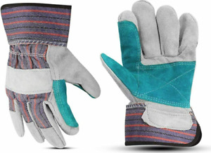 Custom Work Gloves With Double Leather Palm And Safety Cuff 2 Pairs