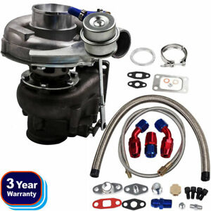 T04e T3 T4 A R 63 400 Hp Stage Iii Boost Turbo Charger Wg Oil Feed Drain Line
