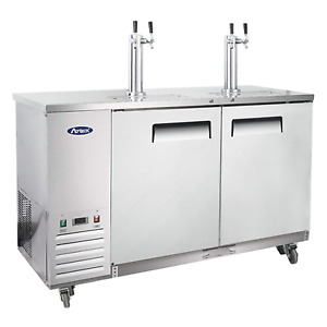 Kegerator Beer Dispenser With 2 Tap Towers Atosa Commercial Keg Cooler Refriger