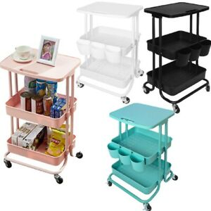 3 Tier Metal Utility Cart Storage Rolling Cart With Table Top Abs Shelf Trolley